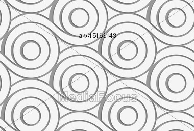 Modern Seamless Pattern. Geometric Background With Perforated Effect. Shadow Creates 3D Texture.Perforated Circles With Merging Tails Stock Photo