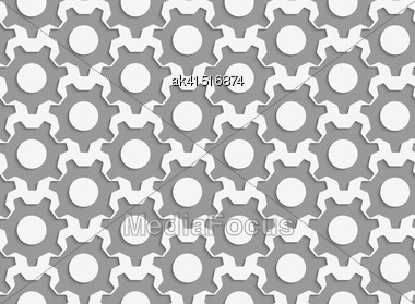 Modern Seamless Pattern. Geometric Background With Perforated Effect. Shadow Creates 3D Texture.Perforated Simple Gears Stock Photo