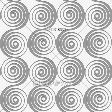 Modern Seamless Pattern. Geometric Background With Perforated Effect. Shadow Creates 3D Texture.Perforated Merging Spirals Stock Photo