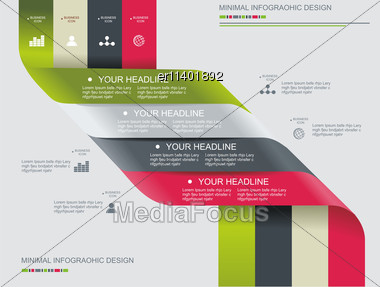 Modern Spiral Infographics Options Banner. Can Be Used For Diagram, Number Options, Steps Banners, Workflow Layout, Web Design Stock Photo