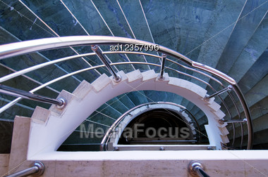 Modern Spiral Stairs View From Top Stock Photo