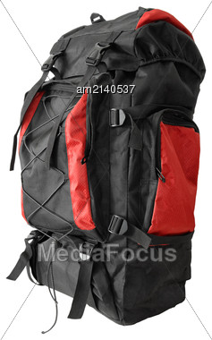 Modern Youth Backpack Closeup On A White Background Stock Photo