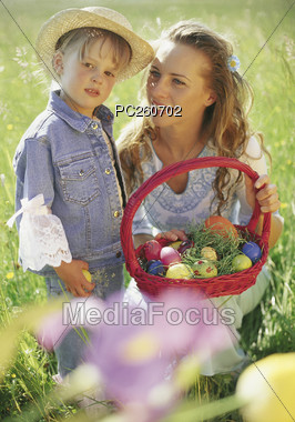Mom Daughter with Easter Basket Stock Photo
