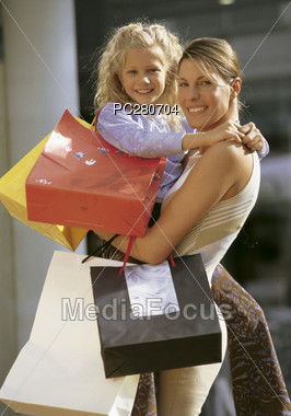 Mom Shopping with Daughter Stock Photo
