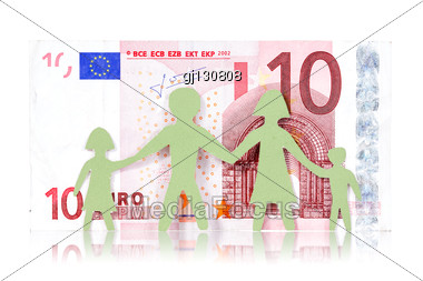 Monetary Concepts. Paper Family And Ten Euro Banknote Stock Photo