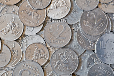 Money Background. Close-up Of A Silver Coins Stock Photo