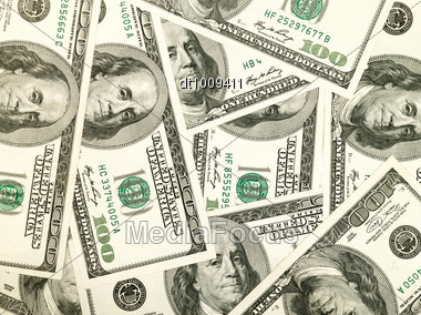 Money Background From Hundred Bucks Banknotes Stock Photo