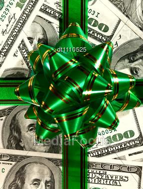 Money Background From Hundred Bucks Banknotes Stock Photo