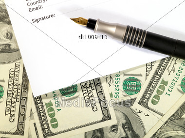 Money Background Under The Contract Form Stock Photo