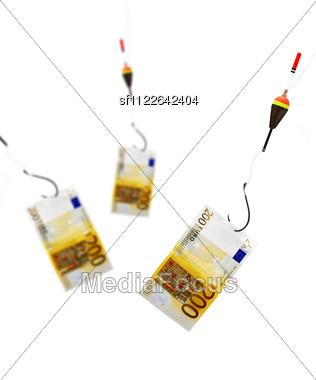 Money, Bobber And Fish-hook Stock Photo