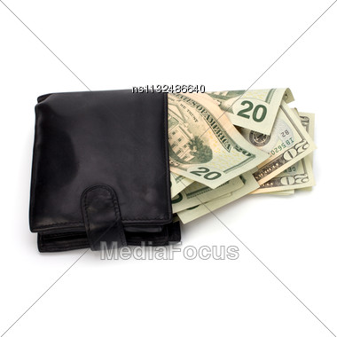 Money In Leather Purse Isolated On White Background Stock Photo