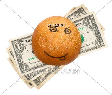 Money-stuffed Burger With Smile Stock Photo