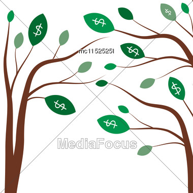Money Trees. Business Concept With White Dollar Signs On The Green Tree Leaves Stock Photo
