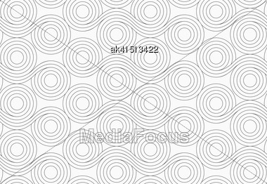 Monochrome Abstract Geometrical Pattern. Modern Gray Seamless Background. Flat Simple Design.Gray Circles With Wavy Lines Merging Stock Photo