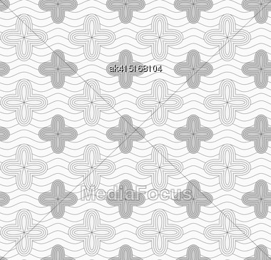 Monochrome Abstract Geometrical Pattern. Modern Gray Seamless Background. Flat Simple Design.Gray Four Pedal Geometric Flowers On Continues Lines Stock Photo