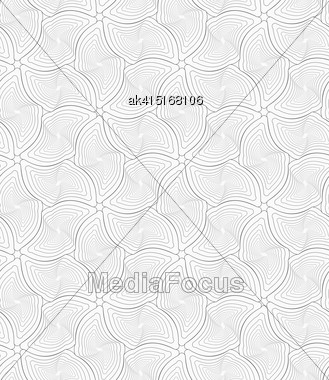 Monochrome Abstract Geometrical Pattern. Modern Gray Seamless Background. Flat Simple Design.Gray Wavy Twisted Rounded Diamonds Stock Photo