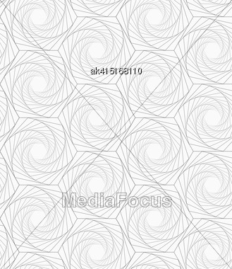 Monochrome Abstract Geometrical Pattern. Modern Gray Seamless Background. Flat Simple Design.Gray Striped Shapes Resembling Roses Stock Photo