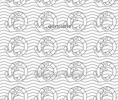 Monochrome Abstract Geometrical Pattern. Modern Gray Seamless Background. Flat Simple Design.Gray Life Buoy And Anchors On Wavy Continues Lines Stock Photo