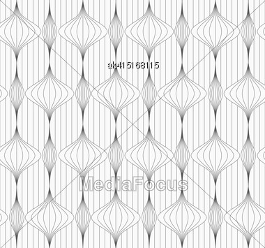 Monochrome Abstract Geometrical Pattern. Modern Gray Seamless Background. Flat Simple Design.Gray Striped Vertical Chinese Lanterns On Continues Lines Stock Photo