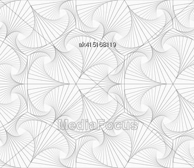 Monochrome Abstract Geometrical Pattern. Modern Gray Seamless Background. Flat Simple Design.Gray Striped Overlapping Shapes Stock Photo