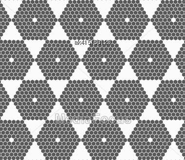 Monochrome Abstract Geometrical Pattern. Modern Gray Seamless Background. Flat Simple Design.Gray Small Hexagons Forming Hexagons Stock Photo