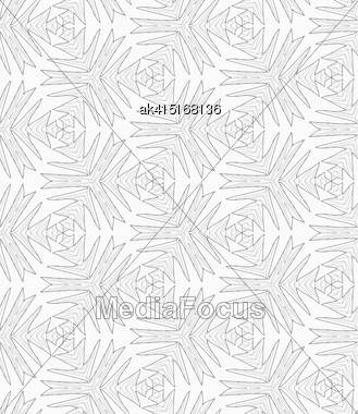 Monochrome Abstract Geometrical Pattern. Modern Gray Seamless Background. Flat Simple Design.Gray Pointy Complex Shapes Textured With Scribble Stock Photo