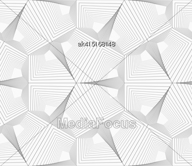 Monochrome Abstract Geometrical Pattern. Modern Gray Seamless Background. Flat Simple Design.Gray Unevenly Striped Hexagons Stock Photo