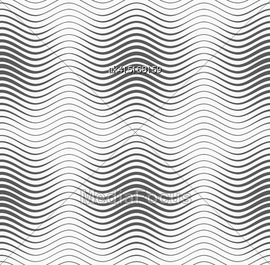 Monochrome Abstract Geometrical Pattern. Modern Gray Seamless Background. Flat Simple Design.Gray Wavy Lines With Thickenings Stock Photo