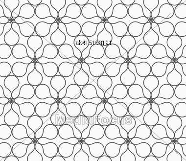 Monochrome Abstract Geometrical Pattern. Modern Gray Seamless Background. Flat Simple Design.Gray Six Pedal Rounded Flowers Stock Photo