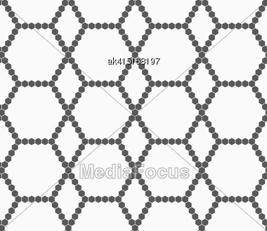 Monochrome Abstract Geometrical Pattern. Modern Gray Seamless Background. Flat Simple Design.Gray Small Hexagons Forming Net Stock Photo