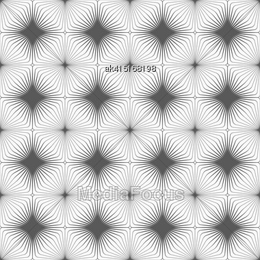 Monochrome Abstract Geometrical Pattern. Modern Gray Seamless Background. Flat Simple Design.Gray Diagonally Striped Squared Reflected With Thickening Stock Photo