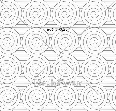 Monochrome Abstract Geometrical Pattern. Modern Gray Seamless Background. Flat Simple Design.Gray Touching Archimedean Spirals On Continues Lines Stock Photo