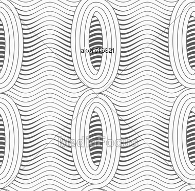 Monochrome Abstract Geometrical Pattern. Modern Gray Seamless Background. Flat Simple Design.Gray Merging Ovals With Wavy Continues Lines Stock Photo