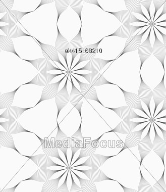 Monochrome Abstract Geometrical Pattern. Modern Gray Seamless Background. Flat Simple Design.Gray Eight Pedal Geometrical Flower Stock Photo