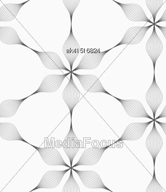 Monochrome Abstract Geometrical Pattern. Modern Gray Seamless Background. Flat Simple Design.Gray Striped Six Pedal Abstract Flowers Stock Photo
