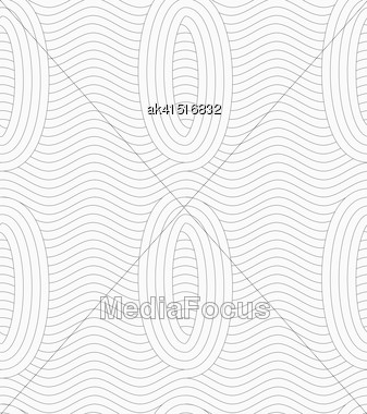 Monochrome Abstract Geometrical Pattern. Modern Gray Seamless Background. Flat Simple Design.Gray Ovals Merging With Continues Lines Stock Photo