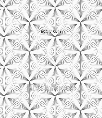 Monochrome Abstract Geometrical Pattern. Modern Gray Seamless Background. Flat Simple Design.Gray Striped Pointy Trefoils Stock Photo