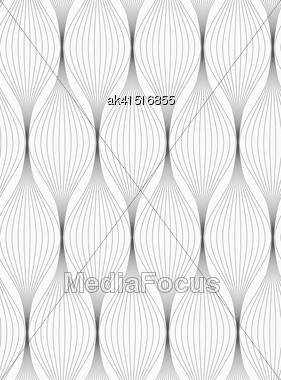 Monochrome Abstract Geometrical Pattern. Modern Gray Seamless Background. Flat Simple Design.Gray Striped Connected Ovals Stock Photo