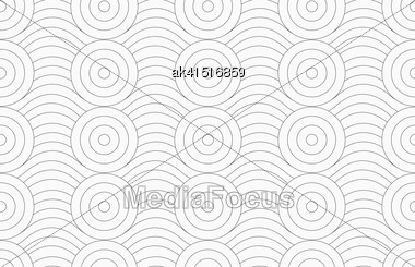 Monochrome Abstract Geometrical Pattern. Modern Gray Seamless Background. Flat Simple Design.Gray Circles Merging With Continues Lines Stock Photo