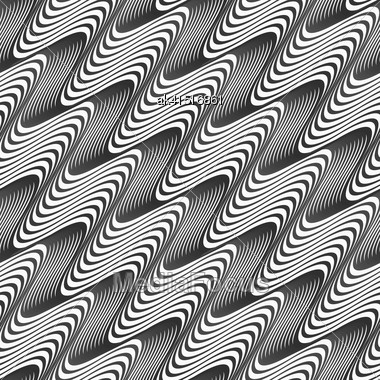 Monochrome Abstract Geometrical Pattern. Modern Gray Seamless Background. Flat Simple Design.Gray Diagonal Wavy Texture With Gradient Stock Photo