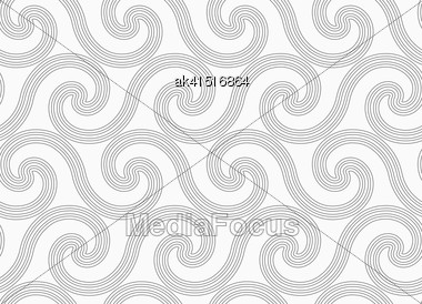 Monochrome Abstract Geometrical Pattern. Modern Gray Seamless Background. Flat Simple Design.Gray Simple Striped Spiral Waves Stock Photo