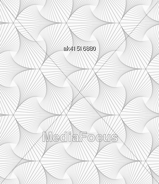Monochrome Abstract Geometrical Pattern. Modern Gray Seamless Background. Flat Simple Design.Gray Striped Shapes Resembling Pointy Trefoil Stock Photo