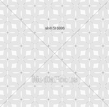 Monochrome Abstract Geometrical Pattern. Modern Gray Seamless Background. Flat Simple Design.Gray Simple Four Pedal Geometric Flowers Stock Photo