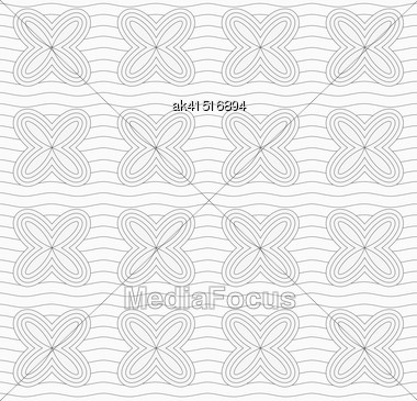 Monochrome Abstract Geometrical Pattern. Modern Gray Seamless Background. Flat Simple Design.Gray Simple Four Pedal Geometric Flowers On Continues Lines Stock Photo