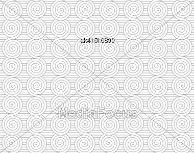 Monochrome Abstract Geometrical Pattern. Modern Gray Seamless Background. Flat Simple Design.Gray Merging Archimedean Spirals On Continues Lines Stock Photo
