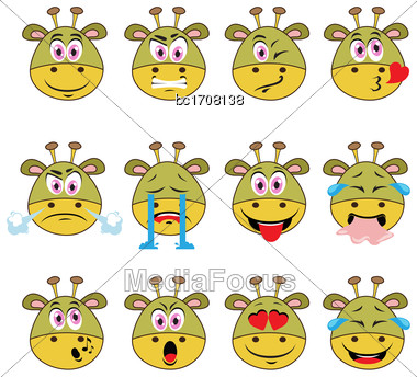 Monster Emojis Set Of Emoticons Icons Isolated. Vector Illustration On White Background Stock Photo