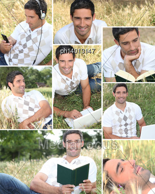 Montage Of A Man Relaxing At The Park Stock Photo
