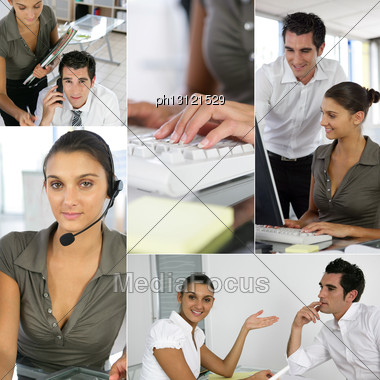 Montage Of Two Office Workers Stock Photo