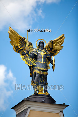 Monument Of Angel In Kiev, Independence Square. Downtown Of A Capital Stock Photo