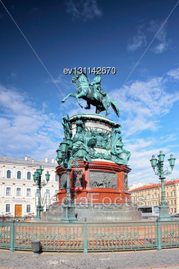Monument To Nicholas I (1859) In St. Petersburg, Russia Stock Photo